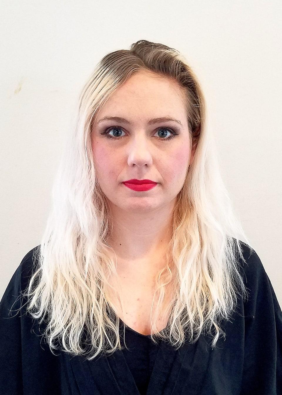 Blonde Hair Color Client Before Tribeca Salon