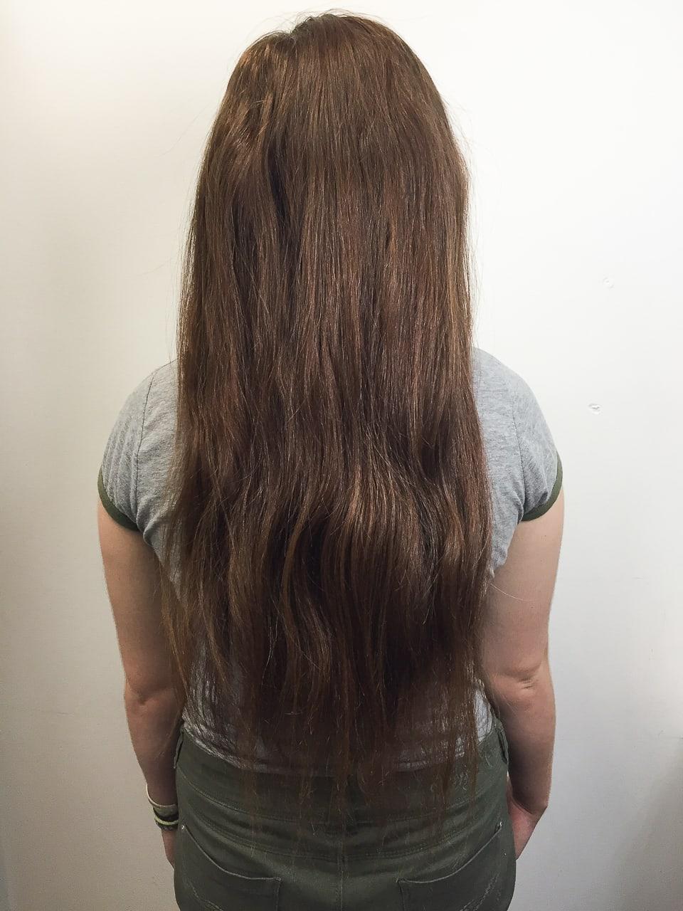 Long hair before Tampa Womens Hair cut Tribeca Salon