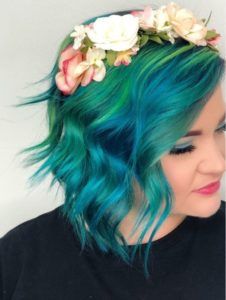 Fashion Color Wavy Bob Hairstyle with Floral Headband Tribeca Salons