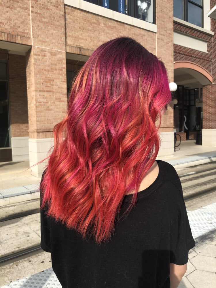 Fashion Color Long Red Hairstyle Tribeca Salons Ybor City